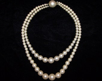 Jewelry Pearl Necklace Vintage Ivory Pearls Double Strand