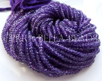 "Full 13"" strand purple AMETHYST faceted gem stone rondelle beads 3.5mm"