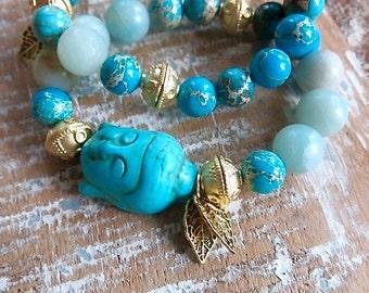 Buddha head bracelets -  2 stretch bracelets - boho jewelry - amazonite and blue Emperor stone beads - vermeil tribal beads