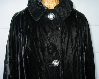 30's 40's Black Velvet Coat with Huge Rhinestone Buttons