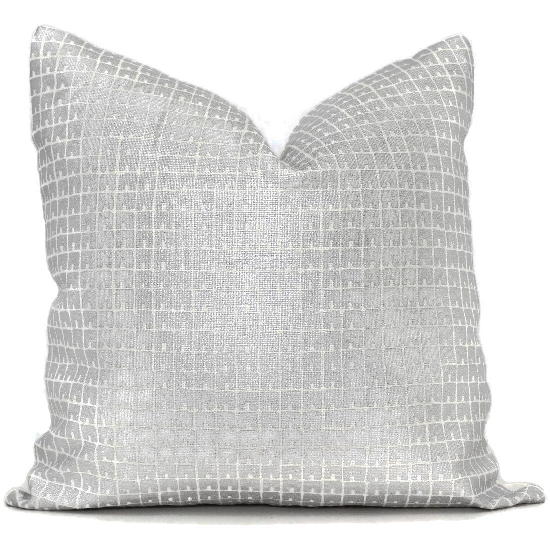 Queen Throw Pillows : China Seas Fez Silver on White Pillow Cover Quadrille Square
