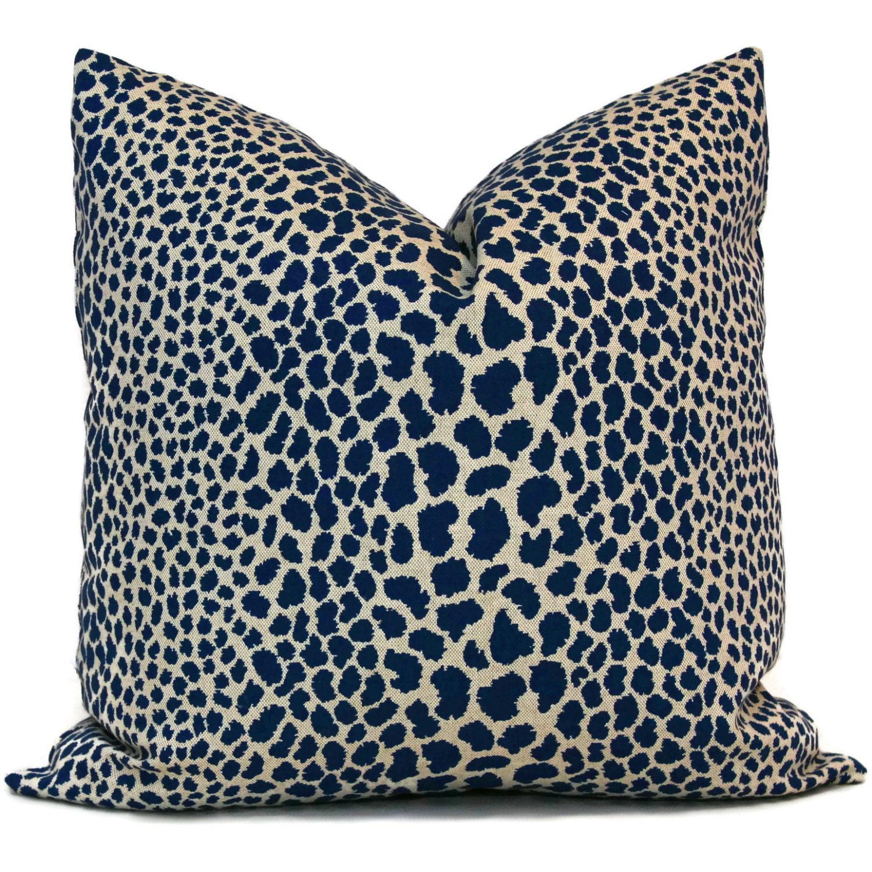 Decorative Pillows Indigo : Indigo Blue Leopard Decorative Pillow Cover 18x18 20x20