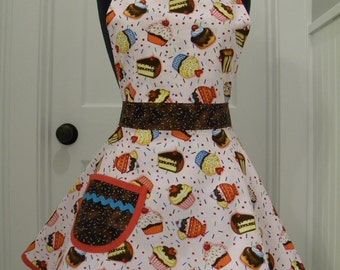 Womens Apron-Frosting and Sprinkles Full Sweetheart Apron