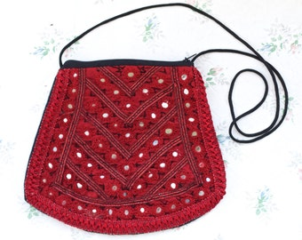 Deep Red Boho Satchel - Embroidered Burgundy Handbag with Patchwork Mirrors