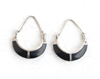 Boho Black and Silver Earrings -  Stylized Hoops - Sterling Silver - Dangle Earrings