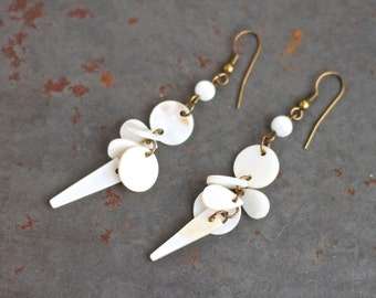 Mother of Pearl Earrings - Vintage Boho Jewelry