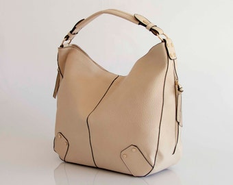 Leather Tote Hobo Shoulder Bag Handbag in Vegan Leather Cream  Handmade - the Morra - 30% summer sale TRACBAG30OFF345