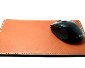 Orange is the New Black mouse pad  italian leather and felt  desk pad genuine leather cowhide leather free initials office decor home decor