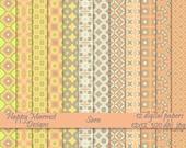 """Digital Scrapbooking Paper Set Patterned Backgrounds Printable - 12 designs - 12""""x12'- 300 dpi - jpg - SARA"""