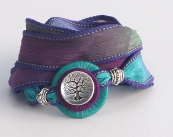 Silver Tree of Life, Whirly Wrap, Silk Ribbon, Violet and Turquoise, Garden Tree Charm, silk wrap, silk garden wrap,  secure magnet