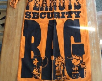 Peanuts security bag orange laundry bag Charlie Brown by sunandpearl on etsy