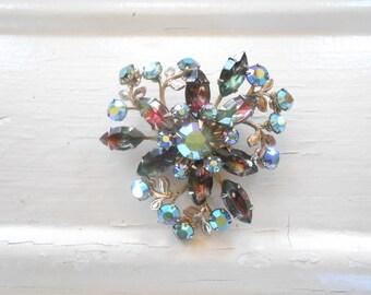 Vintage Beau Jewels Rhinestone Brooch, Pin, Designer, Watermelon Rhinestone, Aurora Borealis, Floral, Large