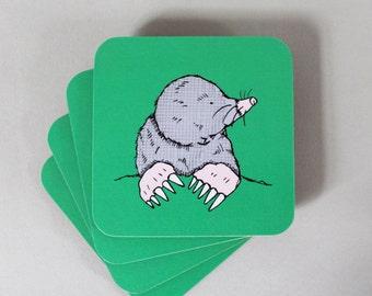 Mole Coaster Set - animal coasters - drinks coaster - green coasters -  coaster set - mole - charity gift - new home gift - gardening gift