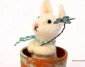 Bunny in a Pot, Felted White Bunny in a Terra Cotta Pot, Easter Bunny Decor, Spring Decor, Needle Felted Animal