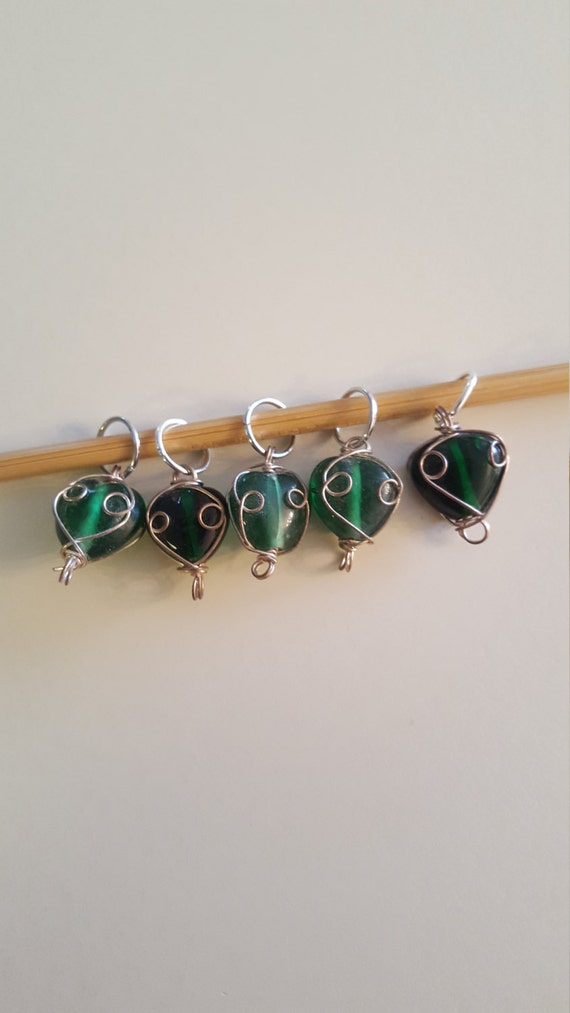 Decorative Knitting Stitch Markers : Large Green Swirl Knitting Stitch Maker from EvidentlyMotley on Etsy Studio