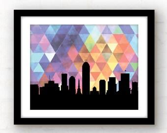 Indianapolis skyline | Indianapolis art | Indianapolis print | geometric skyline city print | watercolor wall art | geometric decor