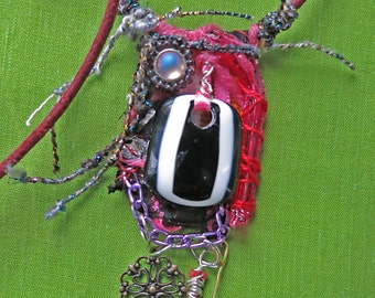 art pendant, fiber, glass, yarn, found objects, folk, outsider art, recycled, free postage in the UK