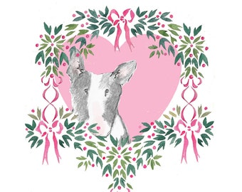 Floral Dog Valentine Card Bull Terrier in White, Tan or Black versions