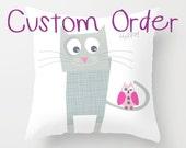 Fun purple cat, quote pillow cover, kids throw pillow, cushion cover, home decor, decorative pillows, children bedding, nursery throw pillow