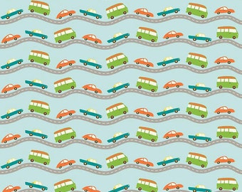 04451 -Riley Blake Wheels 2 roadway with cars in blue cotton fabric- 1 yard  C5042