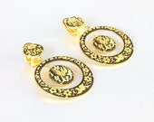 Damascene Hoop Earrings, Dangle Bird Flower Clip on vintage 1960s jewelry