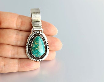 Navajo Turquoise Pendant sterling silver, H Mace Native American Teal Blue vintage jewelry