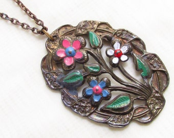 Large Vintage Enamel Flower Pendant Necklace Pot Metal 1940s Blue Pink White