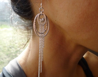 Amrita Earrings ~ Triple Oval with Fringe