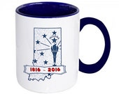 Indiana Bicentennial Coffee Mug, Hoosier Pride Ceramic Mug, Indiana State Flag Torch Design