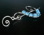 Sky Blue Cats eye Shawl Pin, Pearl Brooch Pin Wire Wrapped , Scarf Pin, Handmade Silver Pin, Wire Shawl PIn