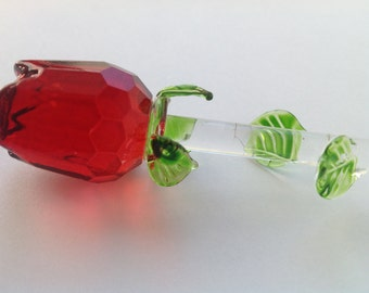 Red Rose glass rose valentine's day gift same day shipping