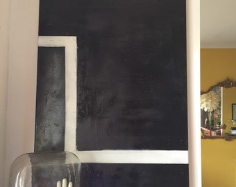 Forty seven inch large.  Unknown artist oil painting on canvas. Black art. Graphic print. Modern
