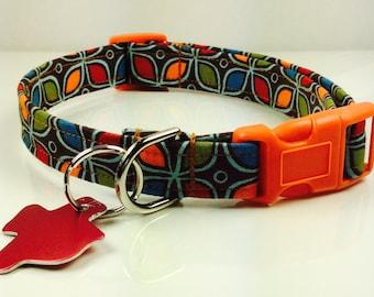 Brown Floral- Dog Collar - Adjustable