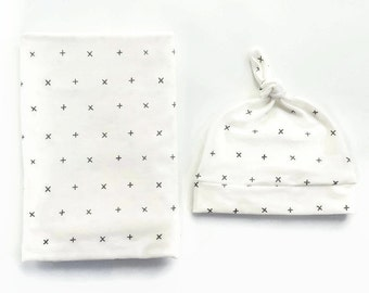 Swaddle Blanket And Newborn Hat Grey Crosses- Plus Sign Swaddle Blanket- Cross Baby Blanket- Newborn Blanket-Hospital Outfit- Monochrome
