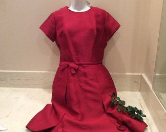 Vintage Holiday Christmas Red Wool Blend Dress, Sixties Dress, 1960's Dress, Vintage Clothing, Little Red Dress