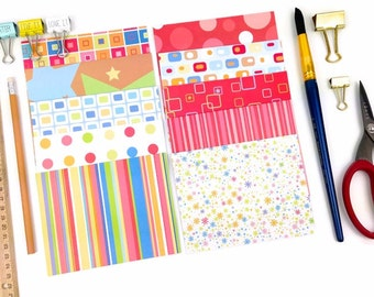 Assorted Printed Textured Cards with Envelopes. 10 pk Rainbow Colors Note Card Stationery set. Modern Designs by DCWV