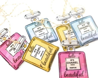 12 Hello Beautiful Designer Perfume Watercolor Gift Tags. No.5 Perfume Bottle Diva Gift Tags. Party Gift Embellishments. Fashionista Chanel