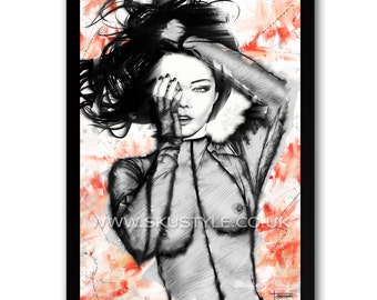 Eye Spy - Original Digital Art By Sku Style - Female Nude - A3 Signed Limited Art Print - Edition 1/25