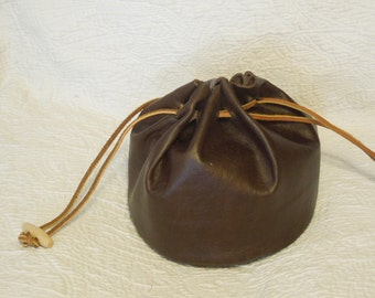 leather Stash bag hand-made  with draw cord