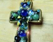 Glass fusion and swarovski crystal cross pendant and pearls