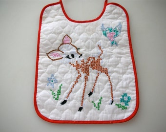 Bambi Bib Disney Babies Infant Newborn Baby Bid Quilted Walt Disney Baby Accessory Embroidered Needlepoint Baby Bib