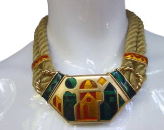 Vintage MONET Enamel and Rope Choker Necklace