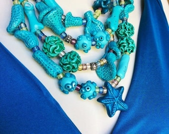 Chunky Turquoise Coral Reef Necklace / Beach Inspired Jewelry