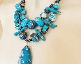 Turquoise Beaded Necklace/ Turquoise Statement Necklace
