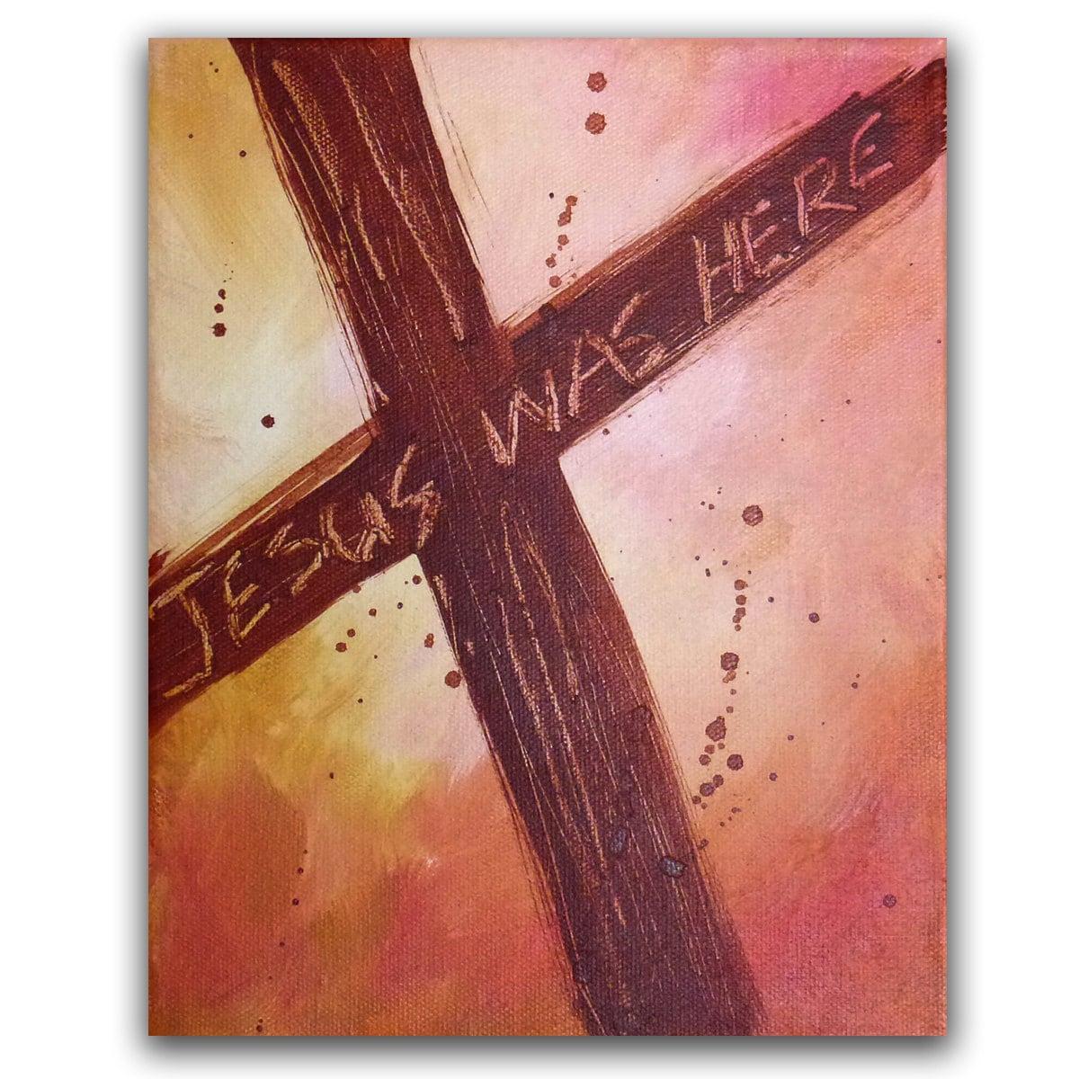 Religious Flat Acrylic: 8x10 Original Cross Painting Christian Acrylic Fine Art