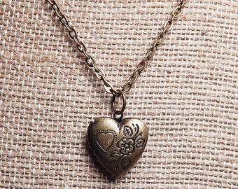 Child's Heart Locket Necklace in Antique Brass or Antique Silver Plated