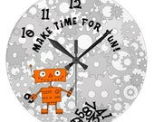 Black Wall Clock For Boys With Funny Orange Robot With Screwdriver ON DEMAND