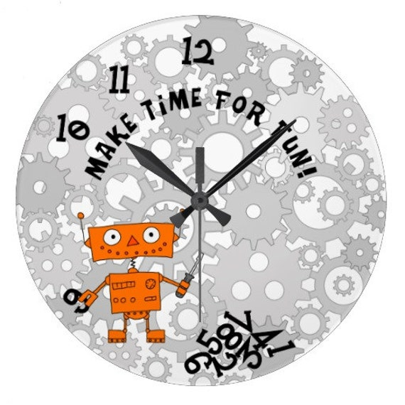 2017 Resolution Wall Clock With Funny Orange Robot Holding Screwdriver ON DEMAND