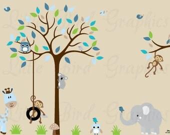 Kids wall tree decal, decals owls, wall mural, wall art design