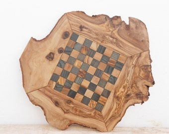 Unique Olive Wood Chess Board, Dad gift, Valentines Day Gift